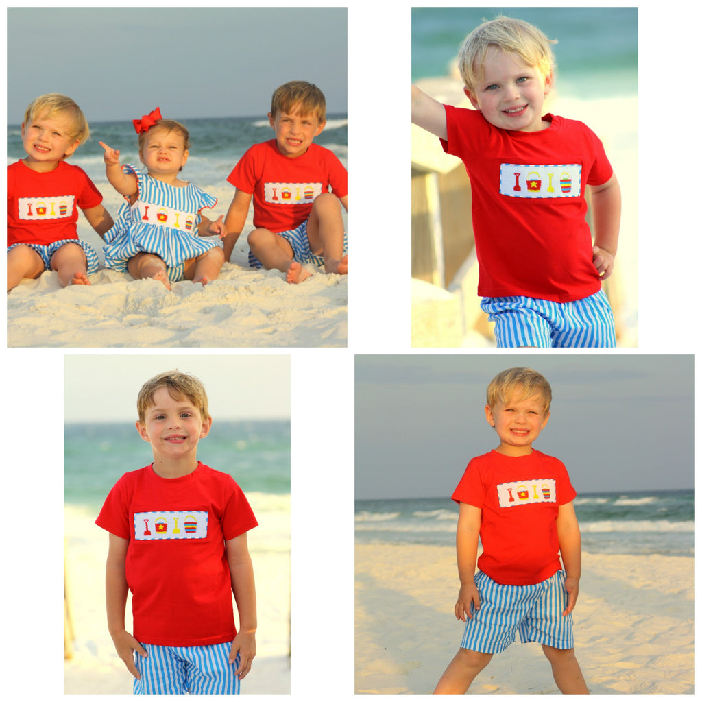 Red Smocked Sandbuckets & Shovels Shirt & Aqua Striped Shorts Set, Boys Shorts Sets, The Smocking Bug, The Smocking Bug