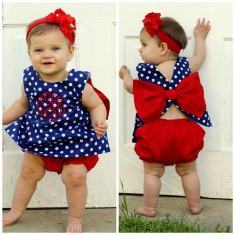 Monogrammable Girls Navy Polka Dotted Bloomers Set with Large Red Back Bow