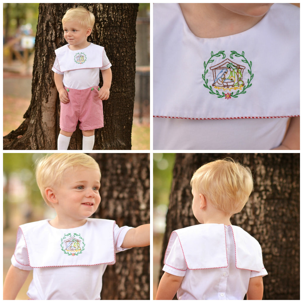 Embroidered Manger Square Neck Collar Shirt & Red Gingham Button On Shorts, boys bobby suit, The Smocking Bug, The Smocking Bug