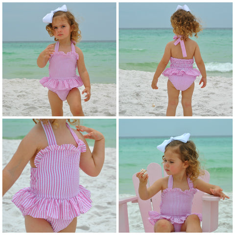 Pink Seersucker 1 Piece Swimsuit