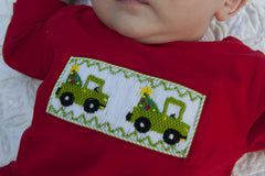 Boys Smocked Christmas Tree in Truck Shirt