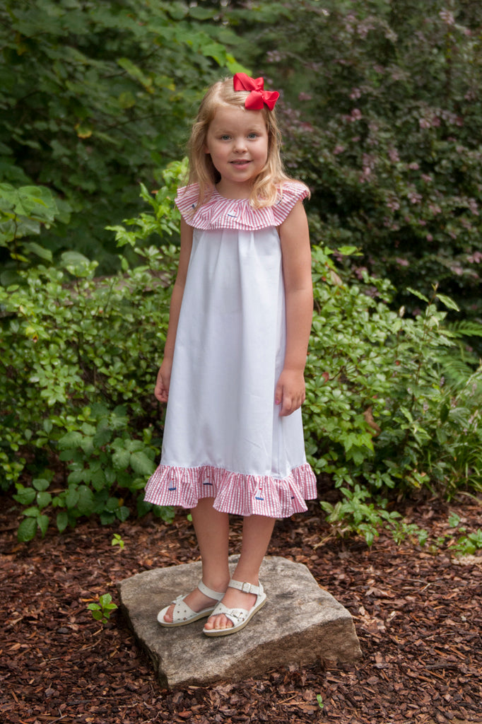 White Monogrammable Dress w/ Red Seersucker Embroidered Sailboat Collar and Ruffle Bottom, Dresses, The Smocking Bug, The Smocking Bug