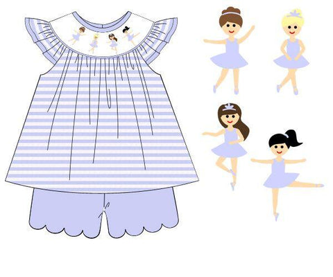 Smocked Ballerina Knit Angel Sleeve Short Set