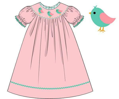 Pink Smocked Birds Bishop Dress with Mint Trim