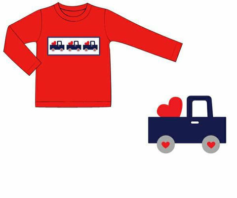 Boys Red Smocked Truck & Heart Shirt Only