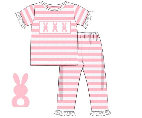 Girls Pink Striped Smocked Bunnies Knit Pajamas