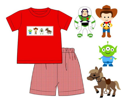 Red Smocked Toys Shirt and Red Gingham Shorts