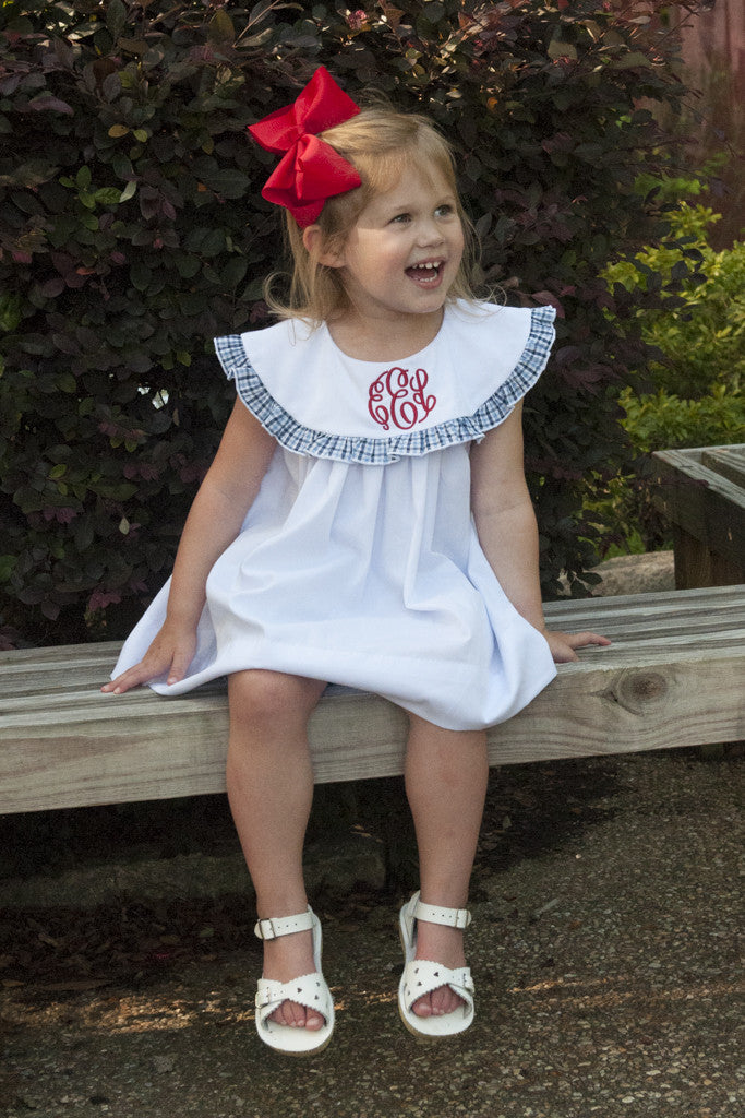White with Navy and Light Blue Plaid Bloomer Set