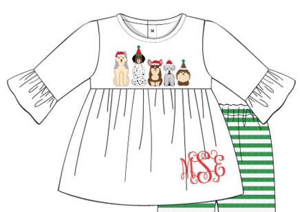 Girls Appliquéd Christmas Puppies Shirt
