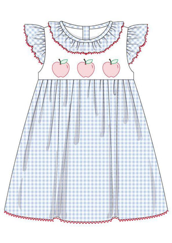 Pleat Shadow Work Apple Angel Sleeve Dress