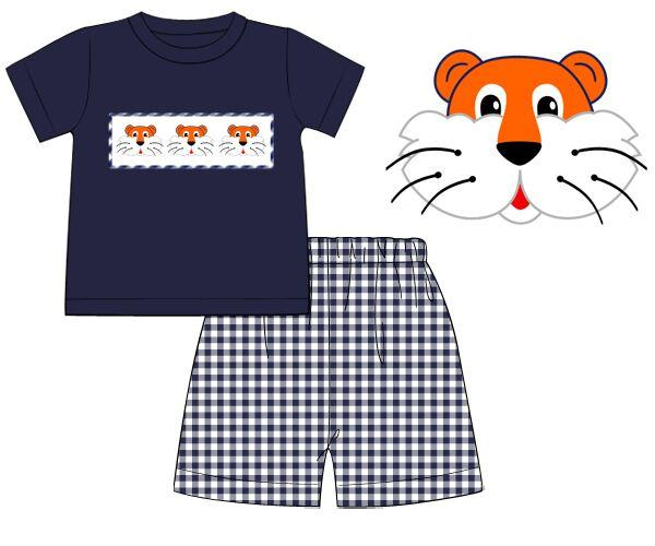 Navy Gingham Smocked Tiger Boys Shirt & Navy Gingham Shorts Set