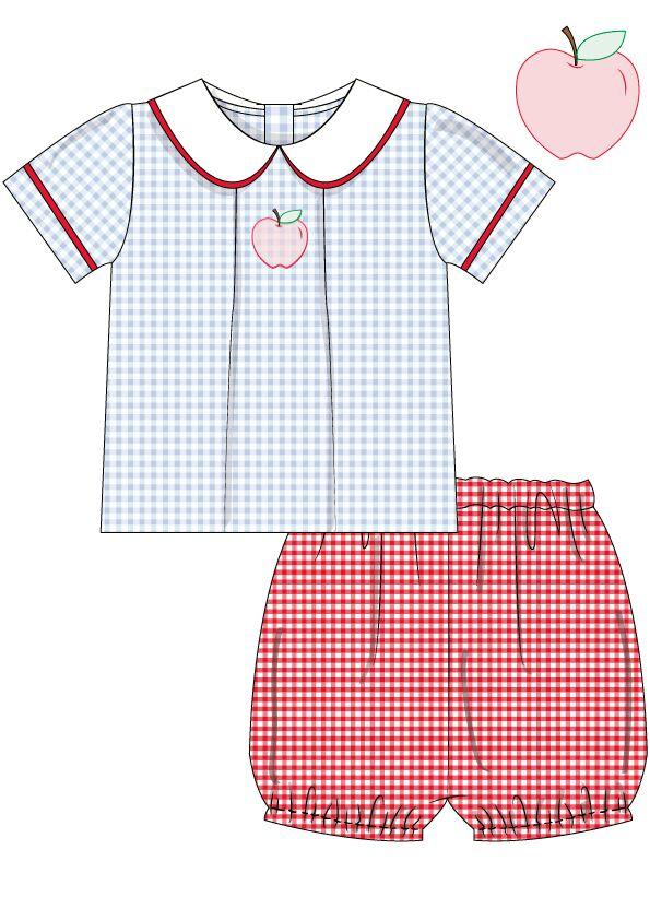 Blue Gingham Peter Pan Collar Shirt Shadow Work Apple with Red Gingham Banded Shorts, Boys Banded Shorts Set, The Smocking Bug, The Smocking Bug