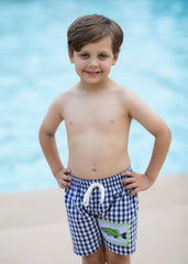 Bass Fish Applique Patch Navy Gingham Swimtrunks, swimtrunks, The Smocking Bug, The Smocking Bug