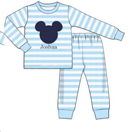 Blue Striped Mouse Appliquéd PJ's