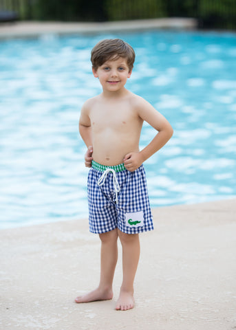 Navy and Green Gingham Smocked Alligator Boys Swimtrunks