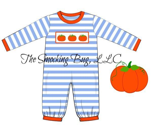 Boys Blue Knit Stripe Smocked Pumpkin Romper, Boys Smocked Romper, The Smocking Bug, The Smocking Bug