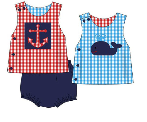 Boys Reversible Whale/Anchor Applique Diaper Set