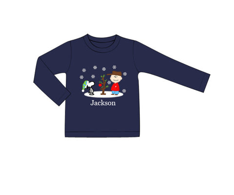 Boys Peanuts Appliquéd Christmas Shirt