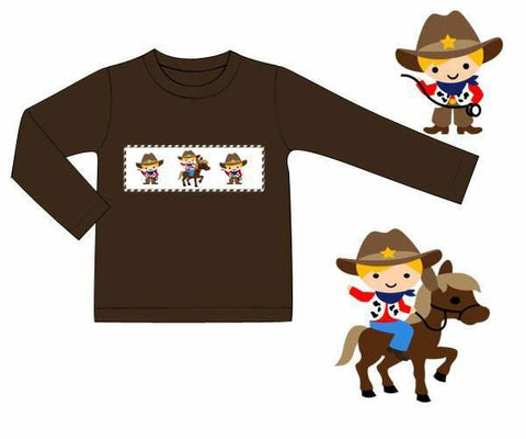 Boys Brown Knit Smocked Cowboy Shirt Only