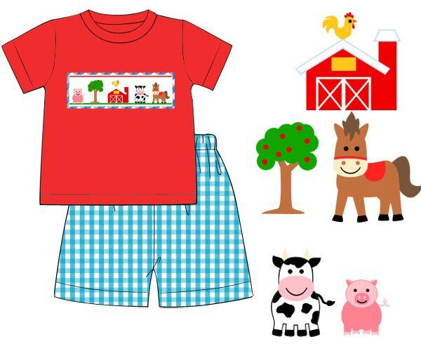 Red Knit Smocked Farm Shirt with Turquoise Gingham Shorts Set