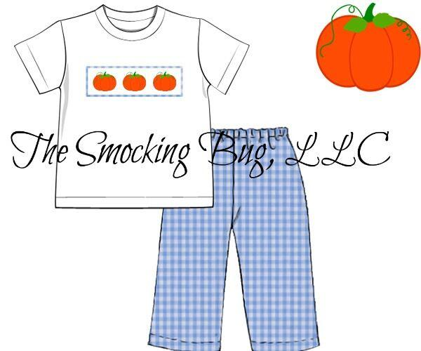 Boys Smocked Pumpkin Pant Set