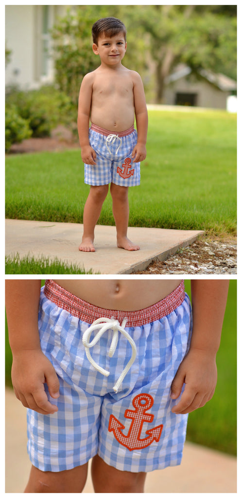 Large Blue Gingham Swim Trunks w/ Orange Gingham Waistband and Anchor Appliqué