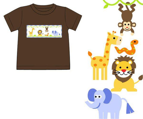 Brown Smocked Jungle Animals Shirt Only