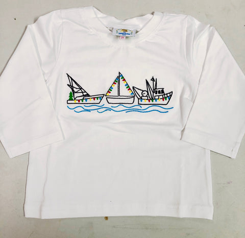 Vintage Stitched Christmas Boats Shirt