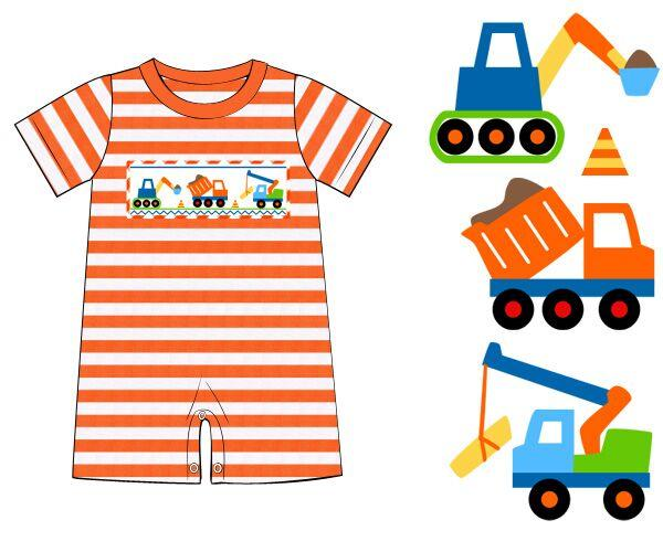 Orange Stripe Knit Smocked Construction Romper