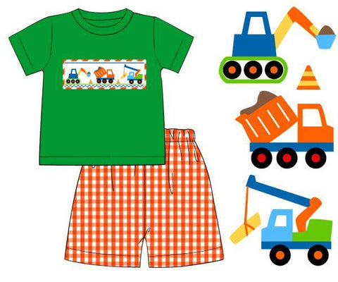 Smocked Construction Short Set with Orange Gingham Shorts