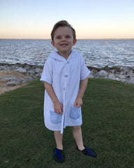 Boys Terrycloth Hooded Swim Cover-Up with Blue Seersucker Lining & Buttons, cover-up, The Smocking Bug, The Smocking Bug
