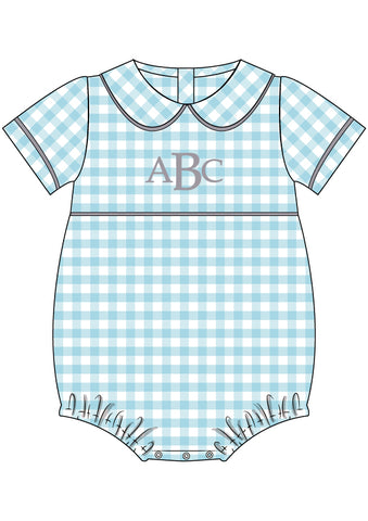 Monogrammable Aqua Check Peter Pan Collared Bubble
