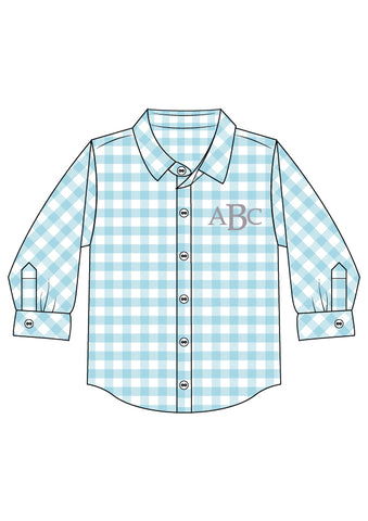 Monogrammable Aqua Check Long Sleeved Button Down