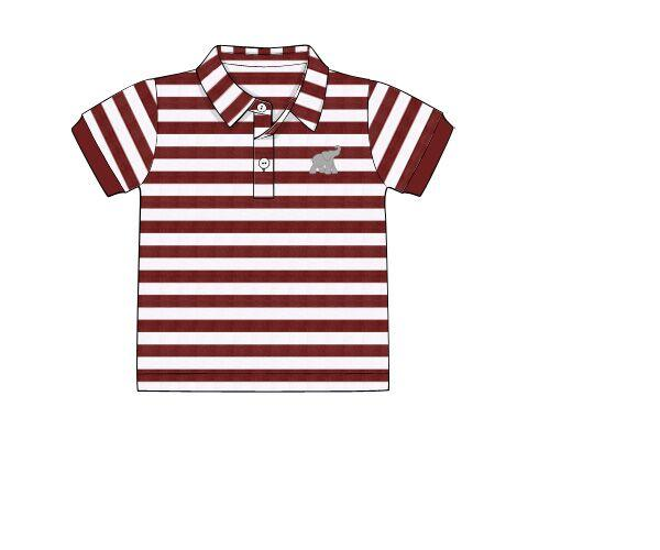 Crimson Striped Elephant Embroidered Polo Shirt