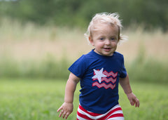Boys Navy Knit Patriotic Appliquéd Shirt and Red Striped Knit Shorts