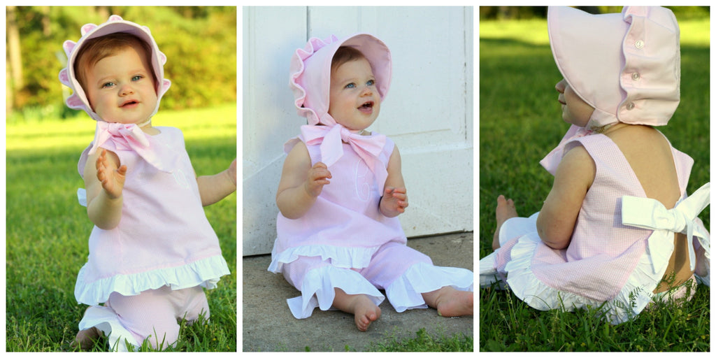 Pink Gingham Seersucker Tie Back Top & Ruffle Pants Set (great for monogramming!), Girls Pants Set, The Smocking Bug, The Smocking Bug