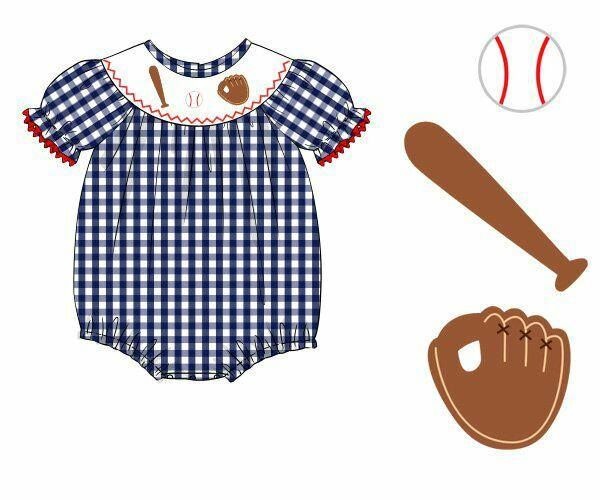 Large Navy Gingham Smocked Baseball Girls Bubble, girls bubble, The Smocking Bug, The Smocking Bug