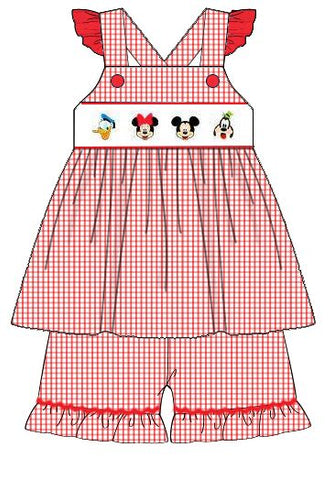 Girls Smocked Red Gingham Mouse and Friends Ruffle Shorts Set