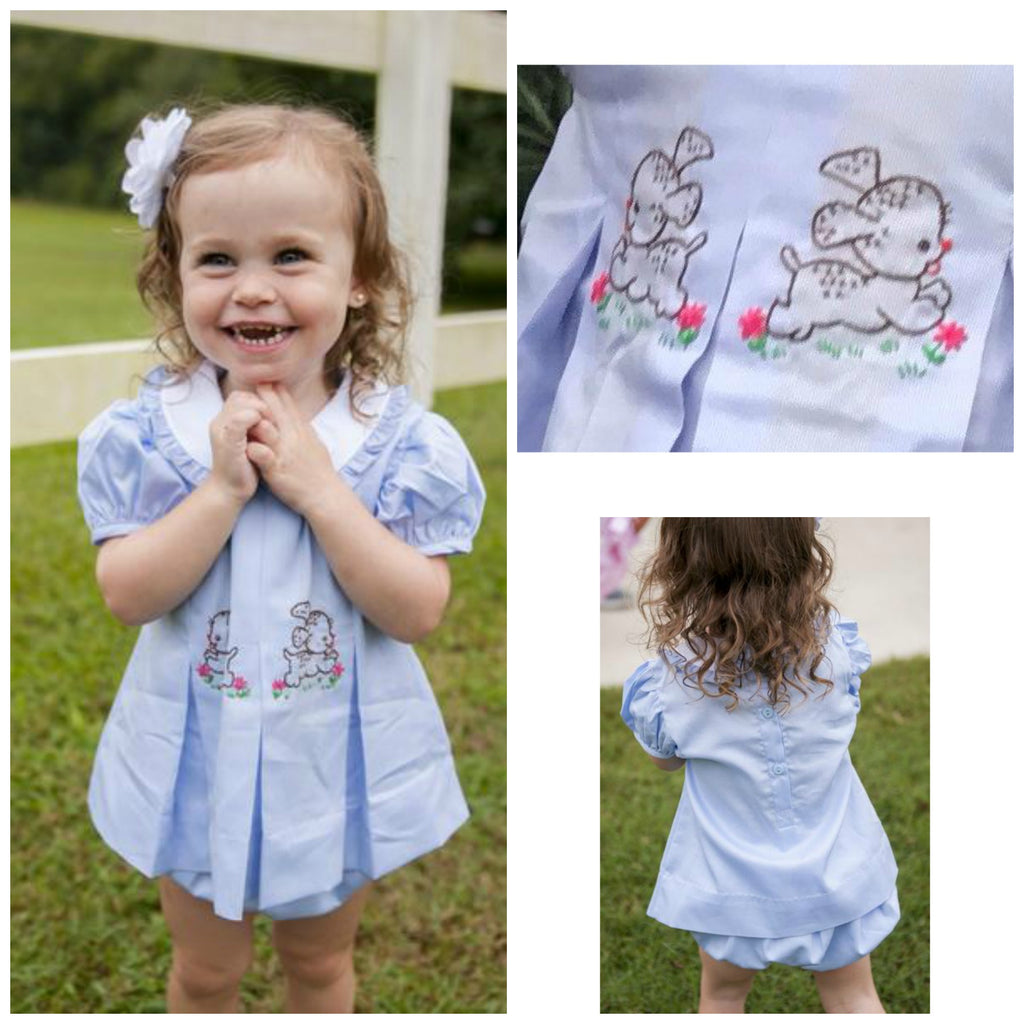 Girls Light Blue Hand Embroidered Vintage Puppy Collared Bloomer Set