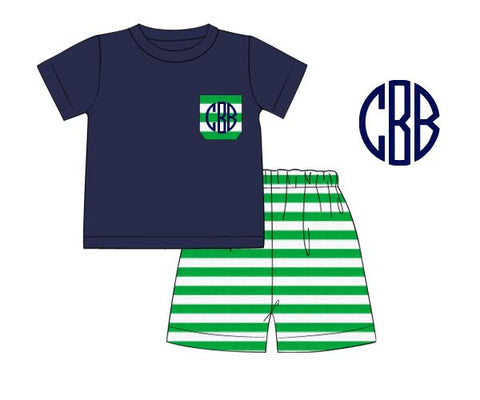 Monogrammable Navy Pocket T-Shirt & Green Striped Shorts