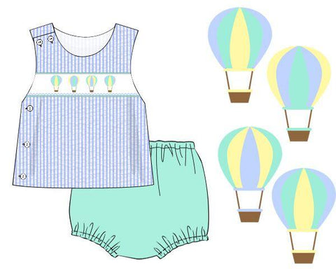 Hot Air Balloon Blue Gingham Smocked Boys Diaper Set