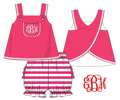 Monogrammable Hot Pink Pocket Swing Top & Hot Pink Stripe Ruffle Bloomers