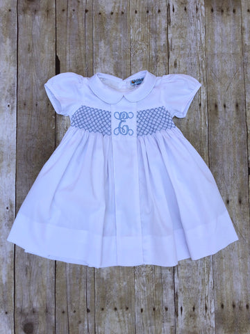 White Pique Monogrammable Bishop Dress with Blue Geo Smocking