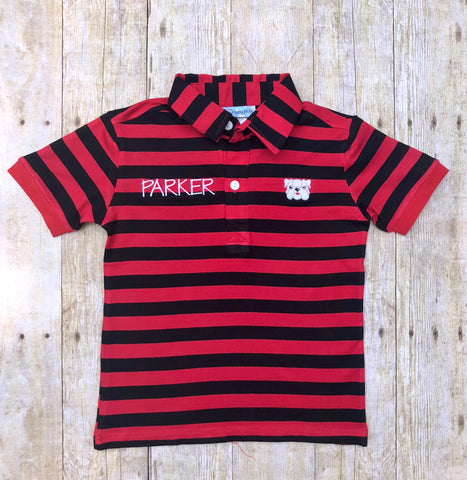 Boys Monogrammable Red & Black Embroidered Bulldog Polo Shirt