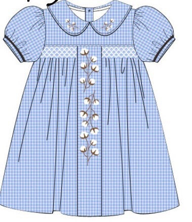Blue Gingham Vintage Smocked & Embroidered Cotton Dress