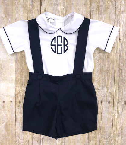 Boys Monogrammable Peter Pan Collar Cambridge Overall Shorts Set