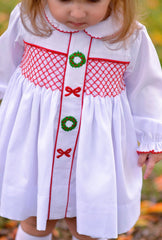 White Long Sleeved Geo Smocked Christmas Bloomer Set
