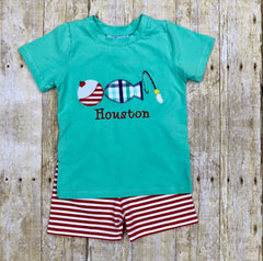 Boys Mint Knit Fishing Lure Monogrammable Shorts Set, Boys Shorts Set, The Smocking Bug, The Smocking Bug