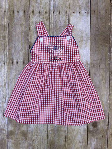 Girls Knit Red Windowpane Monogrammable Beanstitch Firework Dress