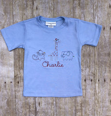 Boys Monogrammable Vintage Stitched Zoo Animals Shirt Only, Boys monogrammable shirt, The Smocking Bug, The Smocking Bug